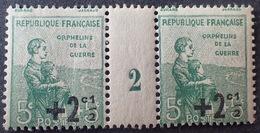 R1615/874 - AU PROFIT DES ORPHELINS DE LA GUERRE - N°163 MILL.2 TIMBRES NEUFS* - Millésimes