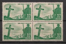 SPM - 1947 - N°Yv. 332 - Calvaire 1f25 - Bloc De 4 - Neuf Luxe ** / MNH / Postfrisch - St.Pierre & Miquelon