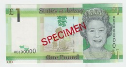 Jersey Banknote One Pound E Series, Specimen Overprint Code HE - Superb UNC Condition - Jersey