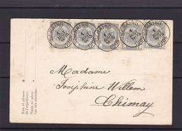 N° 53 Bande De 4 +1 / Carte De SERAING Vers Chimay - 1893-1907 Wappen