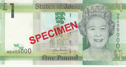 Jersey Banknote One Pound D Series, Specimen Overprint- Superb UNC Condition - Jersey
