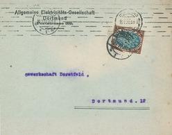 Lochung Perfin 1920 - Infla Dortmund Allgemeine Elektrizitäts-Gesellschaft - Nationalversammlung - Ortsbrief (A5) - Storia Postale