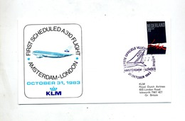 Lettre Premier Vol Klm Amsterdam Londres - Aviones