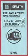Ticket Pour Le Tramway De San Francisco. Cable Car. Californie. Etats Unis. 2019. - Tramways