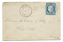N° 60 BLEU CERES SUR LETTRE PUICELCY TARN  POUR ARTHEZ 1876 / INDICE 17 - Marcophilie (Lettres)