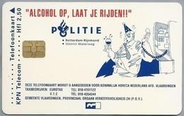 NL.- Telefoonkaart. Hfl. 2,50  KPN Telecom. ALCOHOL OP, LAAT JE RIJDEN!! POLITIE ROTTERDAM-RIJNMOND. District WATERW - Polizia