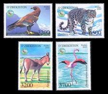 Uzbekistan 2019 Mih. 1365/68 Fauna. Protected Animals. Birds. Golden Eagle. Greater Flamingo. Snow Leopard. Kulan MNH ** - Ouzbékistan