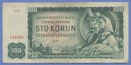 100 KORUN 1961 TSCHECHOSLOWAKEI Banknote Umlaufschein - Tschechoslowakei