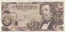 20 SCHILLING 1967 ÖSTERREICH Banknote Umlaufschein - Autriche