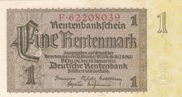 1 RENTENMARK 1937 DEUTSCHE RENTENBANK Banknote Sehr Gute Erhaltung - [ 4] 1933-1945 : Troisième Reich