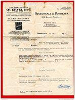 FACTURE (Réf:C147) (VIEUX PAPIERS) ETS QUERVEL Frères HUILES & ET GRAISSES POUR L' AUTOMOBILE BORDEAUX - 1900 – 1949