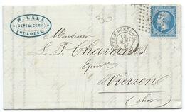 N° 22 BLEU NAPOLEON SUR LETTRE AMBULANT CETTE A BORDEAUX POUR VIERZON 1866 / VERSO BUREAU DE PASSE 4201 - 1849-1876: Période Classique