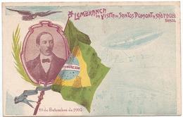 SANTOS DUMONT - Aviation, Brasil, Brazil, Grus Aus Santos Dumont - Lembrança Da Visita A São Paulo Em 1903 - Dirigibili