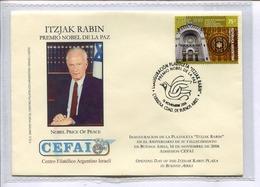 CEFAI - ITZJAK RABIN, PREMIO NOBEL DE LA PAZ / PRIX NOBEL DE LA PAIX. ARGENTINA 2006 FDC יהדות ישראל -LILHU - Nobelprijs
