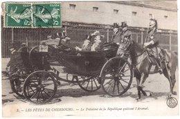 CPA MANCHE.LES FETES DE CHERBOURG.LE PRESIDENT DE LA REPUBLIQUE QUITTANT L'ARSENAL - Cherbourg