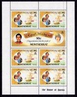 MONTSERRAT - 1981 ROYAL WEDDING SET OF 3 SHEETLETS FINE MNH ** SG 510b, 512b, 514b (3 SCANS) - Montserrat