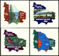 Norfolk Island, 1974, UPU Centenary, United Nations, Maps, MNH, Michel 160-163 - Ile Norfolk