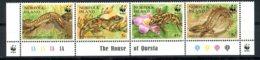 Norfolk Island, 1996, Reptiles, Skunk, Gecko, WWF, Animals, Fauna, MNH Strip, Michel 604-607 - Ile Norfolk