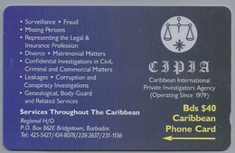 Telefoonkaart. CARIBBEAN  PHONE CARD. CIPIA. Caribbean International Private Investigators Agency. BARBADOS. 2 Scans - Antillen (Nederlands)