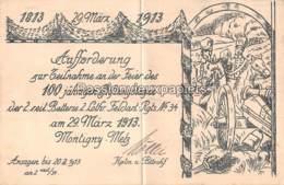 MONTIGNY Lès METZ 1913  2. LOTHR. FELDARTILLERIE REGIMENT N° 34 INVITATION à La FETE Du CENTENAIRE (CAVALIERS UNIFORMES) - Metz