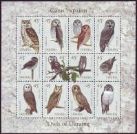 UKRAINE 2003. OWLS OF UKRAINE. Mini-sheet Of 12 Stamps. Mi-Nr. 574-85. MNH (**) - Ukraine