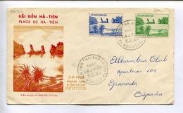 "TEM THO ""BAI BIEN HA-TIEN"" FDC ENVELOPE CIRCULEE 1964 VIET-NAM PAR GRANADA ESPAÑA -LILHU - Vietnam"
