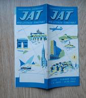 JAT Yugoslav Airlines Vintage Timetable 1959 19 Page Yugoslavia - Timetables