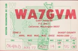 QSL Card Amateur Radio Funkkarte USA Doodem Totem Pole American Native Indian Skagit 1977 - Amateurfunk