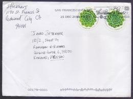 USA United States Of America, Flowers, Round Odd Shape Stamp Used On Cover Used 21.12.2018 - Errori Sui Francobolli
