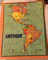 Rare Très Ancien Puzzle En Bois AMERIQUE 20 Pièces GB Et Cie NK Atlas Paris Années 50? - Puzzles