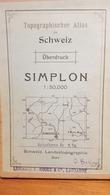 Schweiz - Simplon 50'000 - 1925 - Bon état - Collée Sur Du Tissu  ~ 100 X 75 Cm - Mapas Geográficas