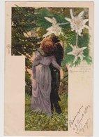 Carte Fantaisie  / Couple D'amoureux ; Fleurs D'édelweiss - Couples