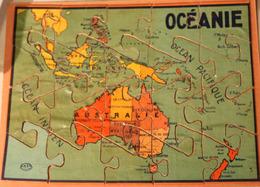 Rare Très Ancien Puzzle En Bois OCEANIE 20 Pièces GB Et Cie NK Atlas Paris Années 50? - Puzzles