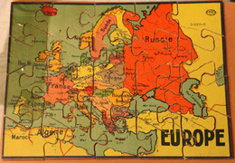 Rare Très Ancien Puzzle En Bois EUROPE 20 Pièces GB Et Cie NK Atlas Paris Années 50? - Puzzles