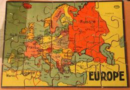 Rare Très Ancien Puzzle En Bois EUROPE 20 Pièces GB Et Cie NK Atlas Paris Années 50 ? - Puzzles