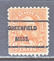 U.S. 587    Perf. 10   (o)    MASS.  1923-26 Issue - Precancels