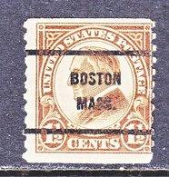 U.S. 598    Perf. 10   (o)    MASS.  1923-26 Issue - United States