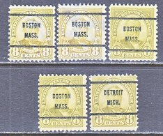 U.S. 640    Perf. 11 X 10 1/2   (o)    MASS.  1927  Issue - Precancels