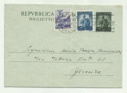 BIGLIETTO POSTALE LIRE 10 + 6 LIRE + 5 LIRE 1949 - Italia