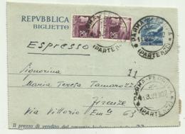 BIGLIETTO POSTALE LIRE 20 + 2 DA LIRE 20  1949 - Italia