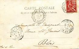 Cachet Convoyeur Ligne Type II MONTOIRE-S-LE-LOIR A TOURS, Daté Du 05/08/1902 - Spoorwegpost