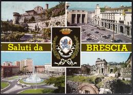 Italy Brescia 1966 / Monuments, Fountain, Castle, Coat Of Arms / Saluti, Greetings - Brescia