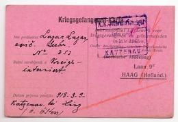1918.  WWI, AUSTRIA, KATZENAU BY LINZ, SERBIAN POW LETTER, CENSORED, CARD TO HAAG, HOLLAND, INTERNATIONAL RELIEF FUND - Covers & Documents