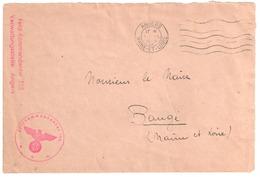 ANGERS Maine Et Loire Ob Meca 5 3 1942 Lettre Franchise Feld Kommandantur 588 Verwaltungsstelle Dest BAUGE Dos Incomplet - Marcophilie (Lettres)