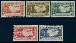 1940 - COSTA DE MARFIL / COTE D'IVOIRE ,  YV. 1 / 5 CORREO AÉREO , AVIÓN EN VUELO - Costa De Marfil (1892-1944)