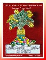 SUPER PIN'S TORTUE : Symbole Du SALON Des ANTIQUAIRE De DIJON (21), émai Cloisonné Base Or, Format  2X2,5cm - Animaux