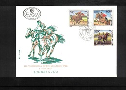 Jugoslawien / Yugoslavia / Yougoslavie 1988 Horse Races In Beograd Michel 2293-95 FDC - Reitsport