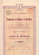 Titre Ancien - Compagnie Générale Des Tramways D'Athènes Et Du Pirée - Titre De 1899 - Chemin De Fer & Tramway