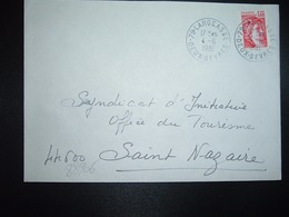 LETTRE TP SABINE 1,40 ROUGE OBL.4-6 1981 79 LARGEASSE DEUX-SEVRES - Postmark Collection (Covers)