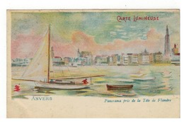 ANVERS  CARTE LUMINEUSE Panorama Pris De La Tête De Flandre  Litho - Antwerpen